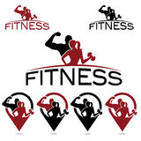 Fitness silhouette character and pins Stock Photography