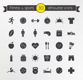 Fitness silhouette icons set Stock Photos
