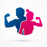 Fitness silhouette man and woman pose Stock Photo