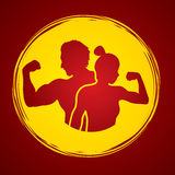 Fitness silhouette man and woman pose Stock Photos