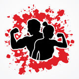 Fitness silhouette man and woman pose Royalty Free Stock Photo