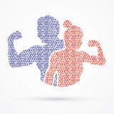 Fitness silhouette man and woman pose Royalty Free Stock Images