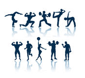 Fitness silhouettes Stock Images