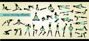 Fitness silhouettes Stock Photo