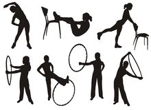 Fitness silhouettes Stock Image