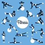Fitness silhouettes. fitness exercises concept. Stock Images