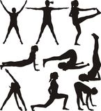 Fitness - silhouettes Royalty Free Stock Photography