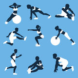 Fitness silhouettes Royalty Free Stock Photography