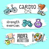 Fitness sketch banner set Royalty Free Stock Image