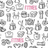 Fitness sketch black and white seamless pattern Stock Image
