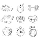 Fitness sketch icons stock illustration