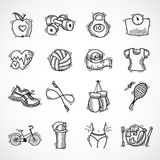 Fitness sketch icons set Stock Photography