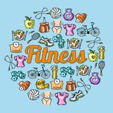 Fitness sketch illustration Royalty Free Stock Photography