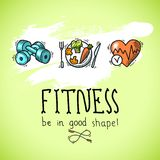 Fitness sketch poster Royalty Free Stock Images