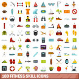 100 fitness skill icons set, flat style. 100 fitness skill icons set in flat style for any design vector illustration Royalty Free Illustration