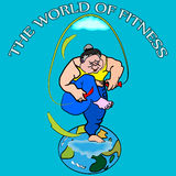 Fitness, skipping. Vector illustration of a funny big woman, jumping on globe, using skipping rope, with the world of fitness sign on the top, that easy to Royalty Free Stock Photography