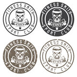 Fitness skull with hammers vintage labels Royalty Free Stock Image