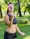 Fitness Slim Woman Training With Dumbbells Stock Photography