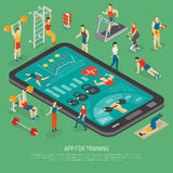 Fitness Smartphone Accessories Apps Isometric Poster Royalty Free Stock Photo