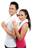 Fitness Smiling young couple man and woman Royalty Free Stock Photo