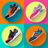 Fitness Sneakers Shoes For Training Running Shoe Flat Design With Long Shadow. Sport Shoes Set Royalty Free Stock Photos