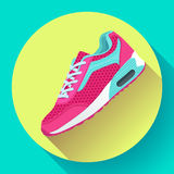 Fitness sneakers shoes for training running shoe flat design with long shadow Royalty Free Stock Image