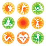 Fitness spa decorative icons Royalty Free Stock Images