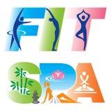 Fitness Spa Tekenpictogrammen Stock Afbeelding