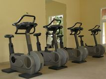 Fitness spinning bikes Royalty Free Stock Photography