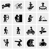 Fitness, sport , active recreation vector icons se. Fitness, sport  icons set on grey background.EPS file available Royalty Free Stock Images