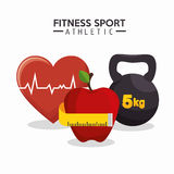 Fitness sport athletics heart apple barbell Royalty Free Stock Photography