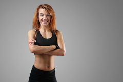 Fitness. Sport. Beautiful woman in the gym royalty free stock photo