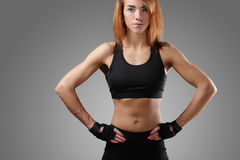 Fitness. Sport. Beautiful woman in the gym stock image