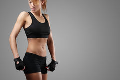 Fitness. Sport. Beautiful woman in the gym royalty free stock photography