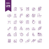 Fitness, sport, bodybuilding and healthy life outline web vector icons Stock Photo