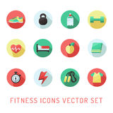 Fitness and sport circle icon multicolored vector set. Flat style design. Royalty Free Stock Photo