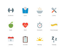 Fitness and Sport color icons on white background Royalty Free Stock Photo
