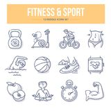 Fitness & Sport Doodle Icons. Doodle icons of fitness & sport for website and printing materials stock illustration