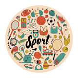 Fitness and sport elements in doodle style Royalty Free Stock Image