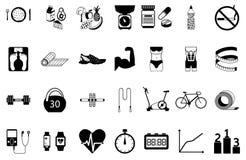 Fitness sport en gezondheids geplaatste silhouetpictogrammen Stock Fotografie