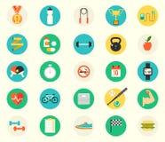 Fitness sport en gezondheids kleurrijk vlak ontwerp Royalty-vrije Stock Foto