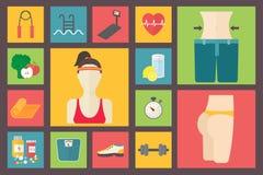 Fitness, sport equipment, caring figure, diet,. Fitness, sport equipment, caring figure and diet icons Stock Photo
