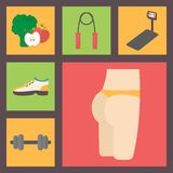 Fitness, sport equipment, caring figure, diet Royalty Free Stock Photo