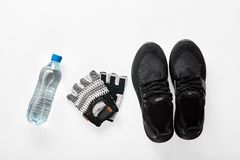 Fitness and sport equipment. Composition of sport and fitness male equipment including water, gloves and sneakers Royalty Free Stock Images
