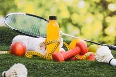 Fitness and sport equipment and health food concept. Stock Images