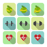 Fitness sport exercises progress icons set. Of heart rate diet and dumbbells isolated vector illustration Royalty Free Stock Photo