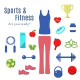 Fitness and Sport Flat Icons. Set of Fitness Sport and Health Icons in Flat Design. Tennis, Jumping, Heart Rate, Football, Diet, Dumbbell, Sport Suit, Kettlebell Royalty Free Stock Image