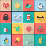 Fitness and sport flat icons set Royalty Free Stock Photos