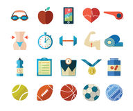 Fitness and sport flat icons. There are twenty fitness, sport and healthy lifestyle icons including gym, athletic, diet, supplementation, weight loss Royalty Free Stock Photography