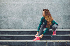 Fitness sport girl in the street Royalty Free Stock Image